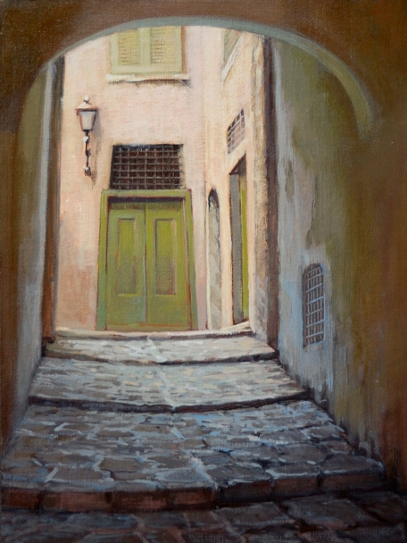 "Green Door Barga 12""x16"" Oil on Linen Panel"