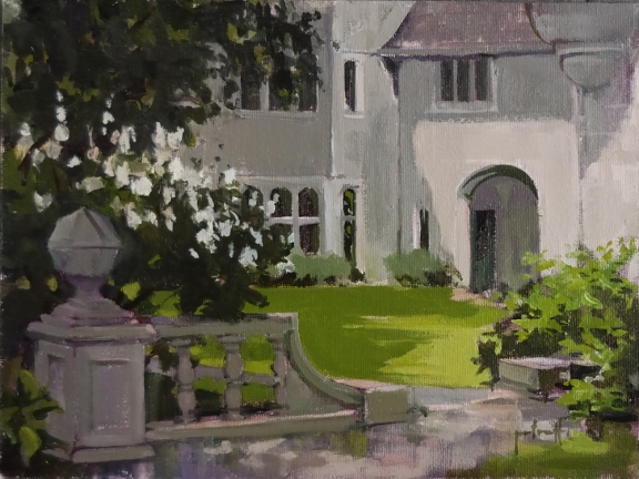 "Courtyard at Coe Hall 9""x12"" Oil on linen panel"