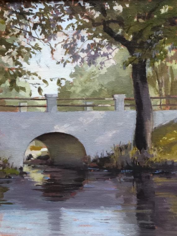 """Little Bridge - Early Morning 9""""x12"""" Oil on Linen Panel"""