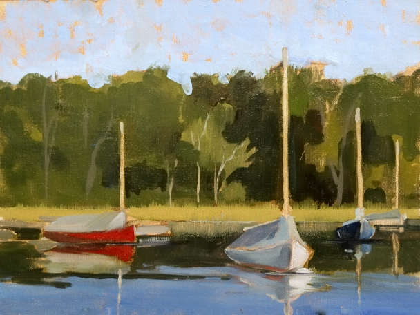 "Three Cat Study - Arey's Pond 9""x12"" Oil on linen panel"